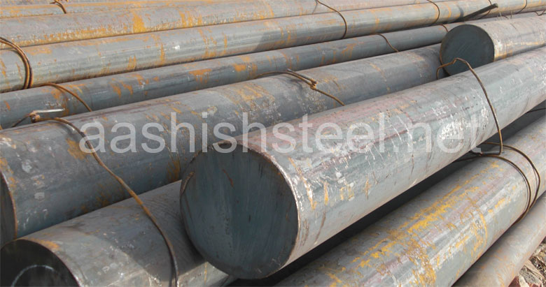 Original Photograph Of ASTM A105 Carbon Steel Round Bars At Our Warehouse Mumbai, India